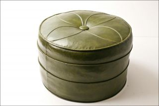 Vtg Hassock Stool Floor Ottoman Foot Danish Eames Era Mid Century Modern Green photo