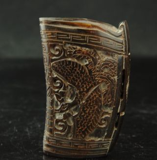 Chinese Old Antique Ox - Horn Hand - Carved Dragon Cup photo