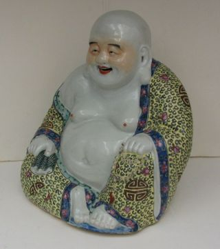 19th C.  Antique Chinese Famille Rose Buddha Figure 10 1/2