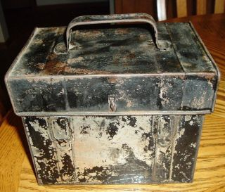 Antique Black Tin Lunch Box Hinged Lid,  Top Handle photo