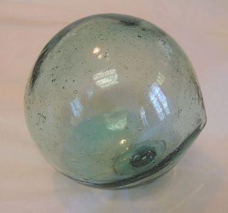 Vintage Japanese Glass Fishing Float.  Bubbles,  Odd Shape & Makers Mark (6) photo
