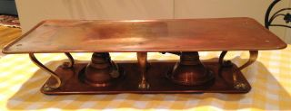 Antique Copper Warming Stand Tray,  2 Hinks Burners Lamps Brass Legs Buffet Server photo