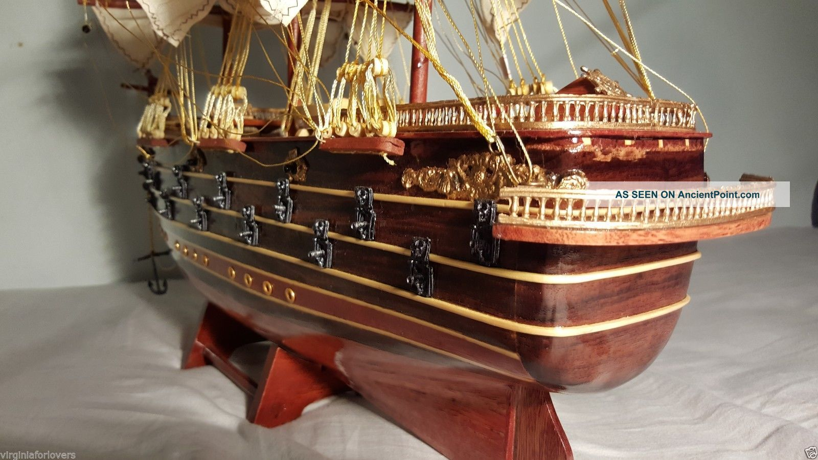 French Napoleon Wood Model Ship Handmade Tall L30