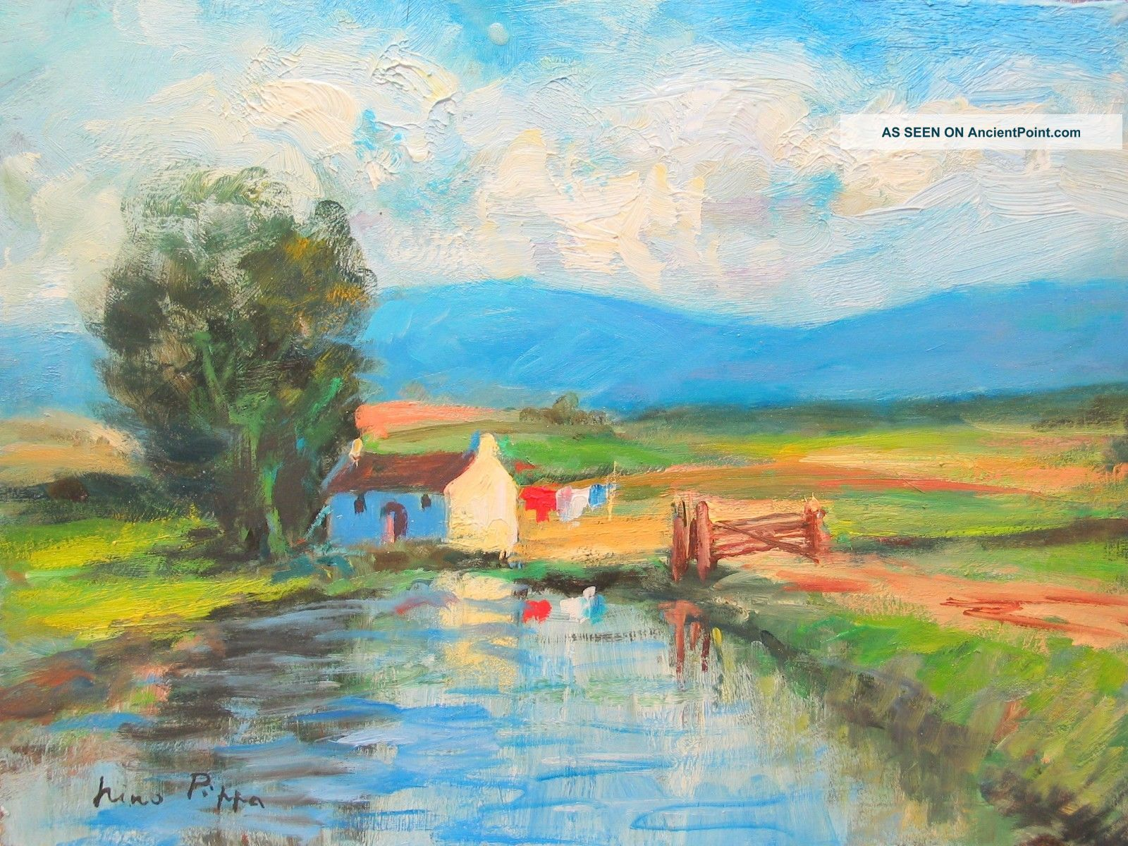 Irish Landscape Painting Ireland Well Listed American Farm ' S Reflections Other Maritime Antiques photo