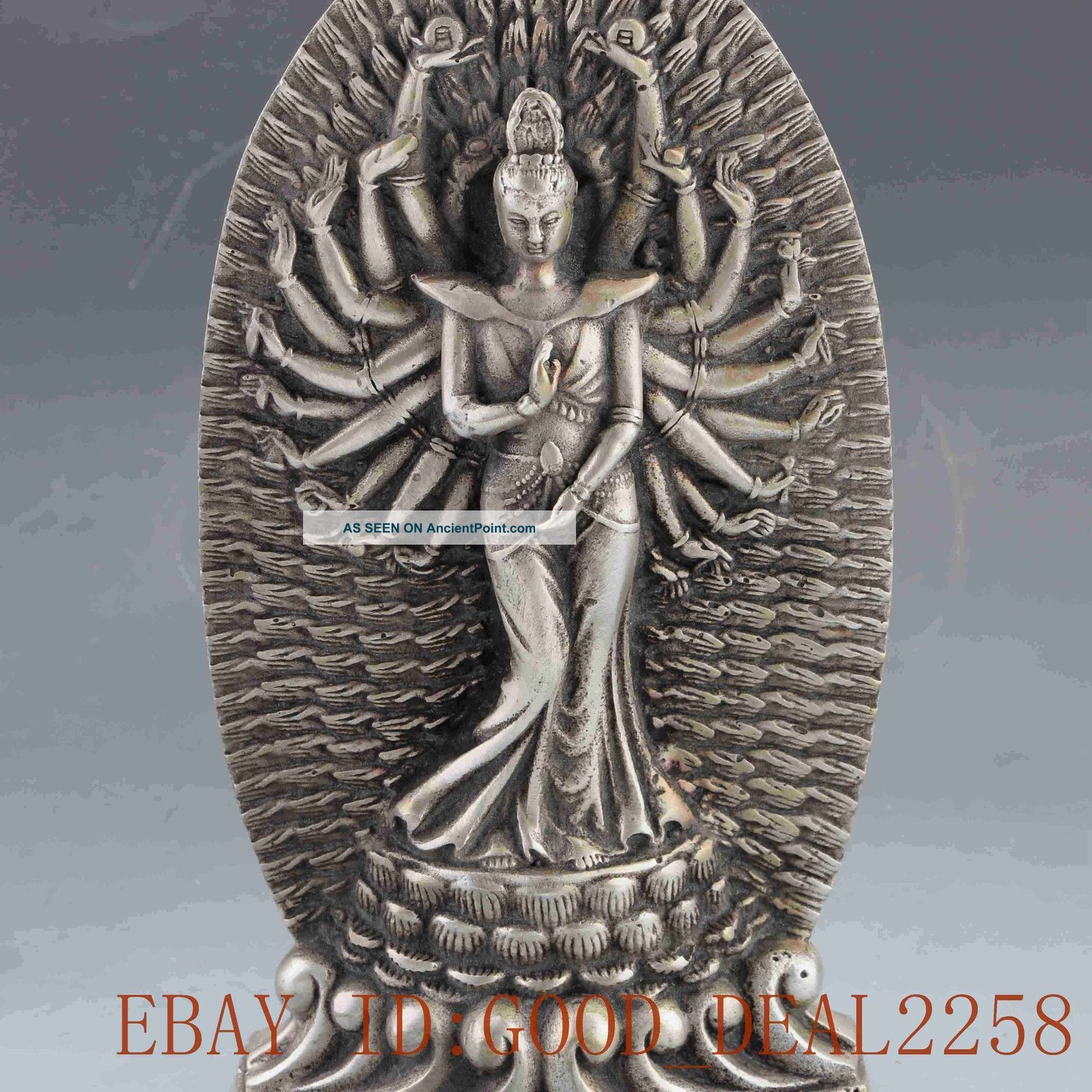 Miao Silver Carving Thousand Hand Prayer The Kindly Big Kwan Yin - Statute Buddha photo