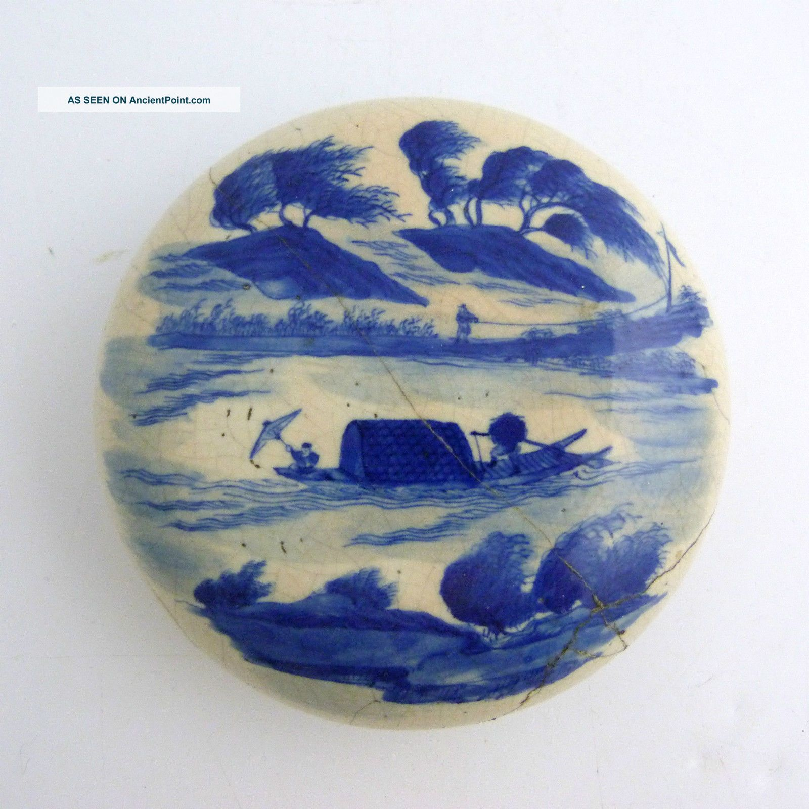 Large Chinese Blue And White Porcelain Paste Box,  Kangxi Mark To Base Boxes photo