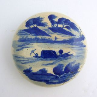 Large Chinese Blue And White Porcelain Paste Box,  Kangxi Mark To Base photo