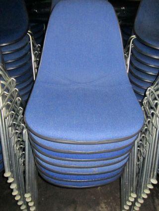 6 Herman Miller Upholstered Eames Fiberglass Shell Side Chairs Light Blue photo
