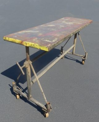 Large Vintage Rustic Industrial Farmhouse Side Entry Metal Table Rolling Cart photo