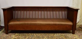 Mission Arts And Crafts Stickley Style Solid Oak Spindle Sofa Couch photo
