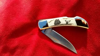 Nautical Scrimshaw Art,  Tall Ship,  Whale Tail,  Folding Pocket Knife photo