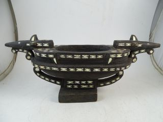 Antique Inuit Indian Wood Abalone Inlay Devotional Bowl Dish Carved Africa China photo