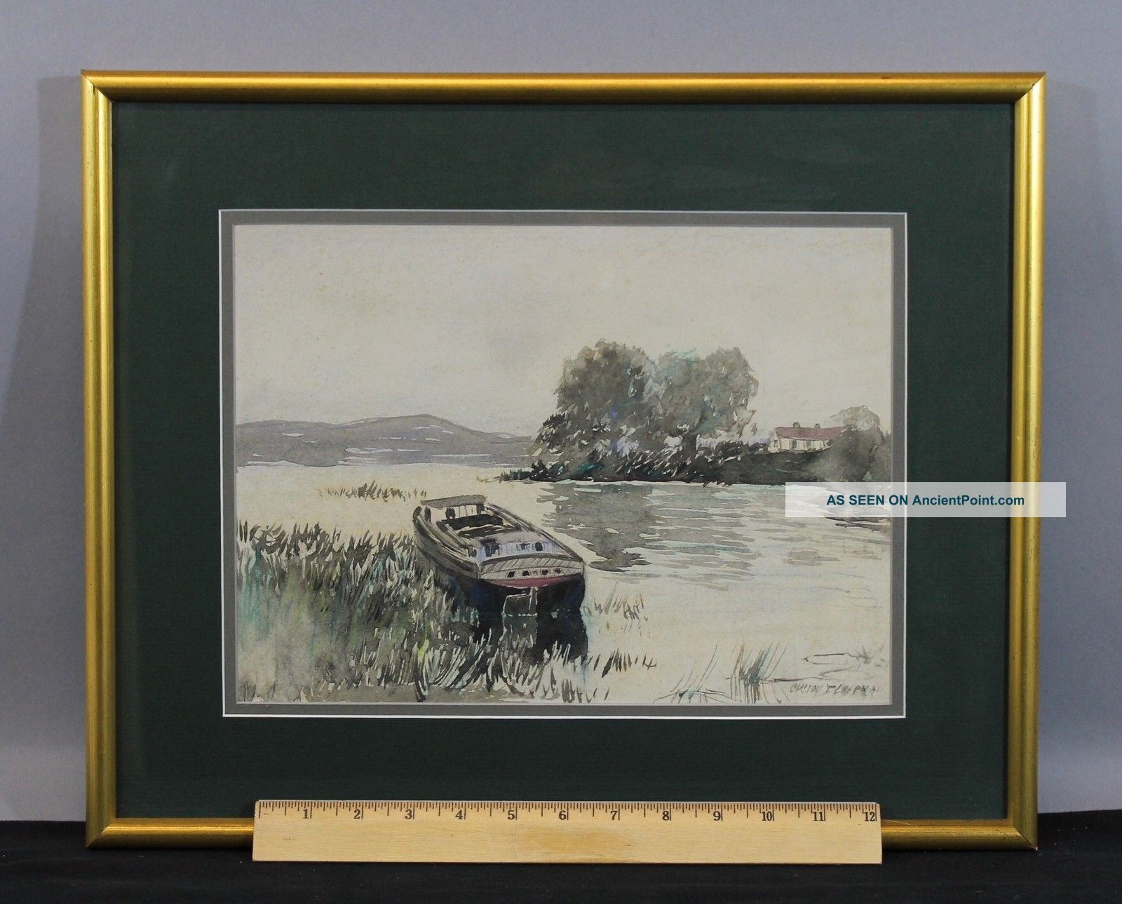Antique Carlton Chapman Impressionist Barge Boat Bay Watercolor Painting,  Nr Other Maritime Antiques photo