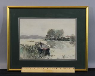 Antique Carlton Chapman Impressionist Barge Boat Bay Watercolor Painting,  Nr photo