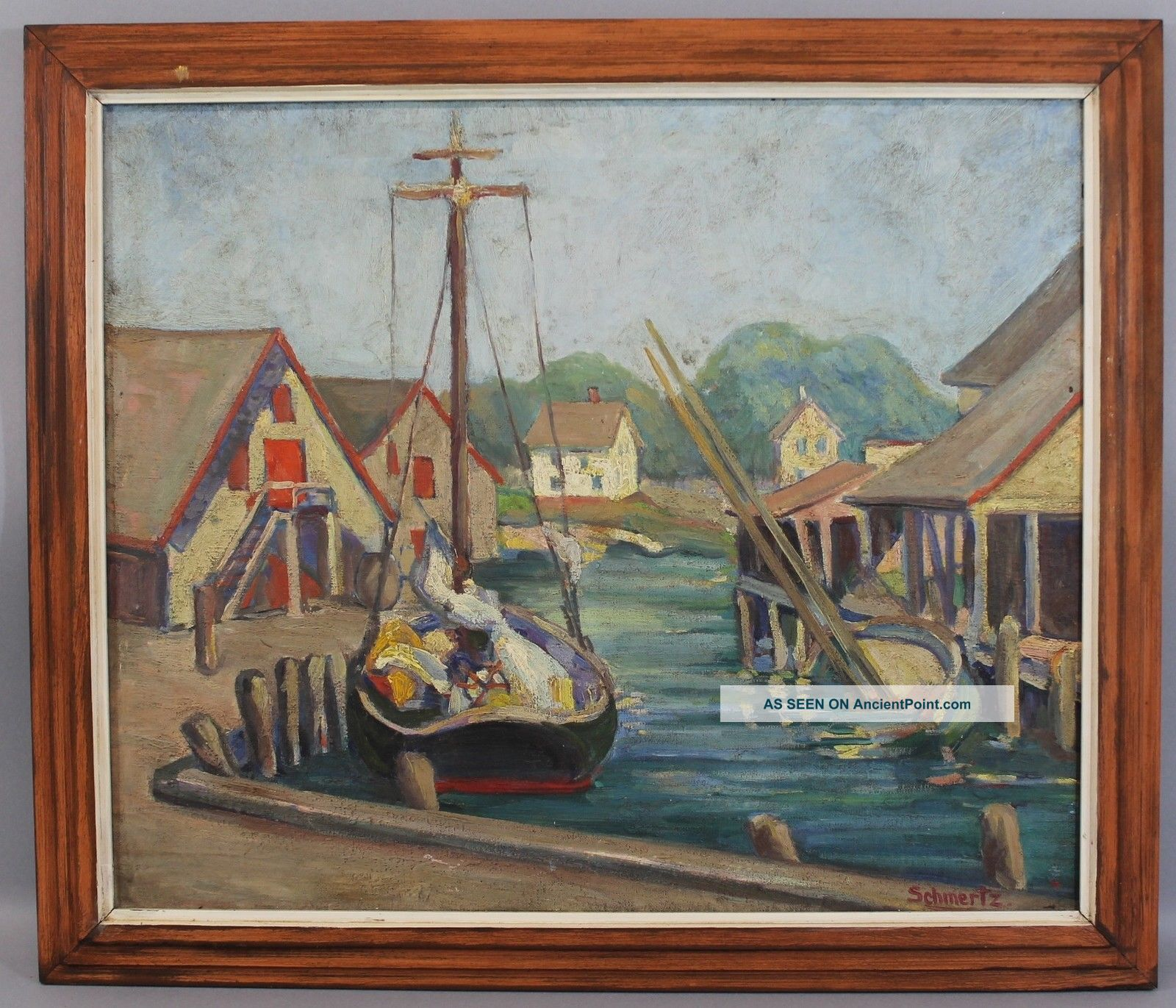 Antique Early 20thc Schmertz Boat Harbor Oil Painting,  Rockport School Other Maritime Antiques photo