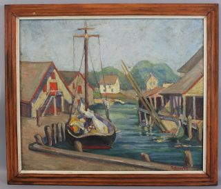 Antique Early 20thc Schmertz Boat Harbor Oil Painting,  Rockport School photo