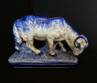 Antique Sarreguemines French Faience Majolica Blue Ram Sheep - Lovely Glaze Skips photo