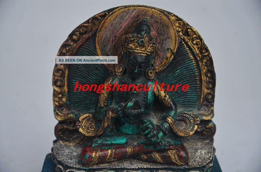 Chinese Copper Inlay Turquoise Handmade Tibetan Buddha Statue Buddha photo