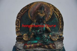 Chinese Copper Inlay Turquoise Handmade Tibetan Buddha Statue photo