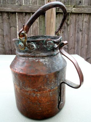 Antique Hand Hammered Copper Water Pot & Forged Wrought Iron Handle & Patina photo