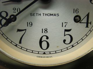 Vintage Seth Thomas Helmsman Ships Bell Mantle Clock Ships Wheel W/ Key photo