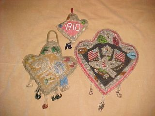 3 Beaded Iroquois Mohawk Indian Beaded Heart Whimseys C1910 Eagle Flags photo