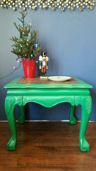 Vintage Antique Solid Wood Side Coffee Accent Table Ball Claw Feet Foot Paw photo