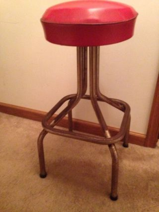 Vintage 50 ' S Metal Deco Chrome Diner Kitchen Bar Counter Stool Red Vinyl Seat photo