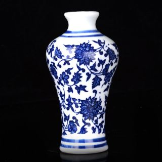 Chinese Hand - Painted Flowers Porcelain Vase W Qing Dynasty Qianlong Mark photo
