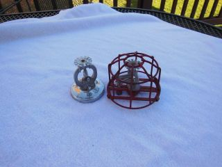 (2) Vtg.  Automatic 38b Fire Sprikler Heads,  (1) With Chrome Base,  (1) With Red Cage photo