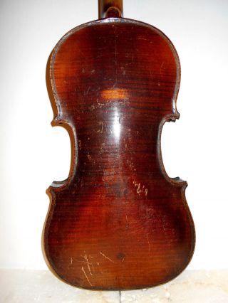 Vintage Old Antique 2 Pc Back Full Size Violin - photo