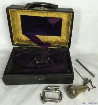 Antique Conn Trumpet Parts & Case photo