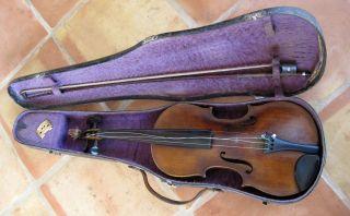 Antique Full Size Violin Hermann? Tietzel Leipzig Germany 1892 L Bausch Bow photo