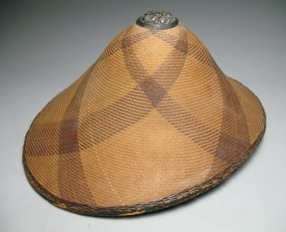 Philippines Antique Salakot Silver Tipped Finely Woven Rattan Hat 19c.  2 photo