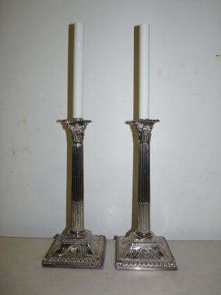 Pair Vintage Silver Plate Regency Style Pillar Shaped Candlestick Lamps 110909 photo