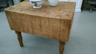 Vintage Butcher Block Table Authentic Gorgeous Maple Wood Primitive Decor photo