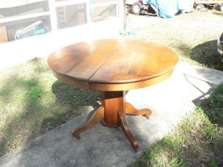 Antique Vintage Round Solid Oak Wood Table Country Mission photo