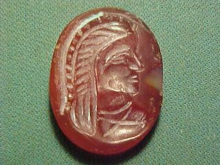 Sassanian Intaglio Of Carnelian (bust) 224 - 642 Ad photo