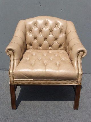 Vintage Mid Century Modern Schafer Bros Tufted Beige Leather Accent Chair photo
