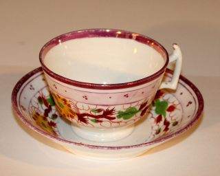 Antique English Porcelain Gaudy Welsh Luster Tea Cup & Saucer photo