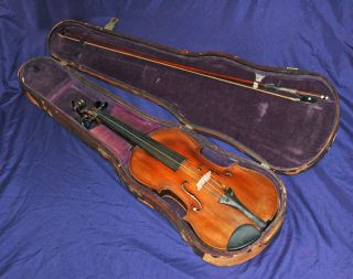 Antique Violin 4/4 Labeled James W.  Mansfield 1910 Boston Mass.  In Old Wood Case photo