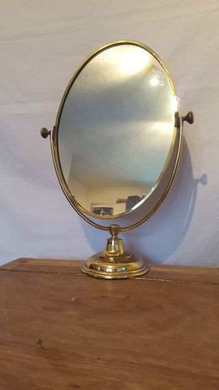 Antique Large Brass Vanity Mirror Dressing Table Mirror Vintage Peerage England photo