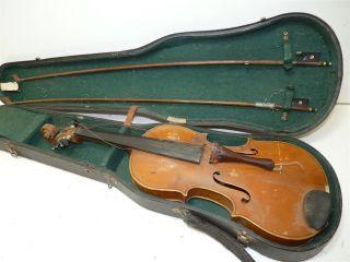 Vintage/antique Full Size 4/4 Scale Vuillaume A Paris Model Copy Violin W/2 Bows photo