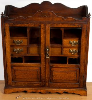 Large Smoker ' S Cabinet Games Antique Victorian Oak In Mahogany Colour 24