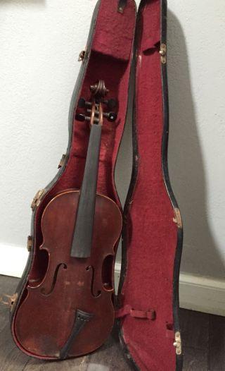 Old Antique Full Size Violin Labeled Francois Richard For Restoration With Case photo