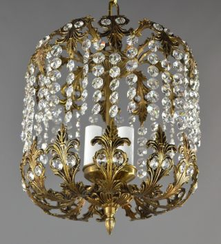 Brass & Swarovski Crystal Chandelier C1950 Vintage Antique Restored Ceiling photo