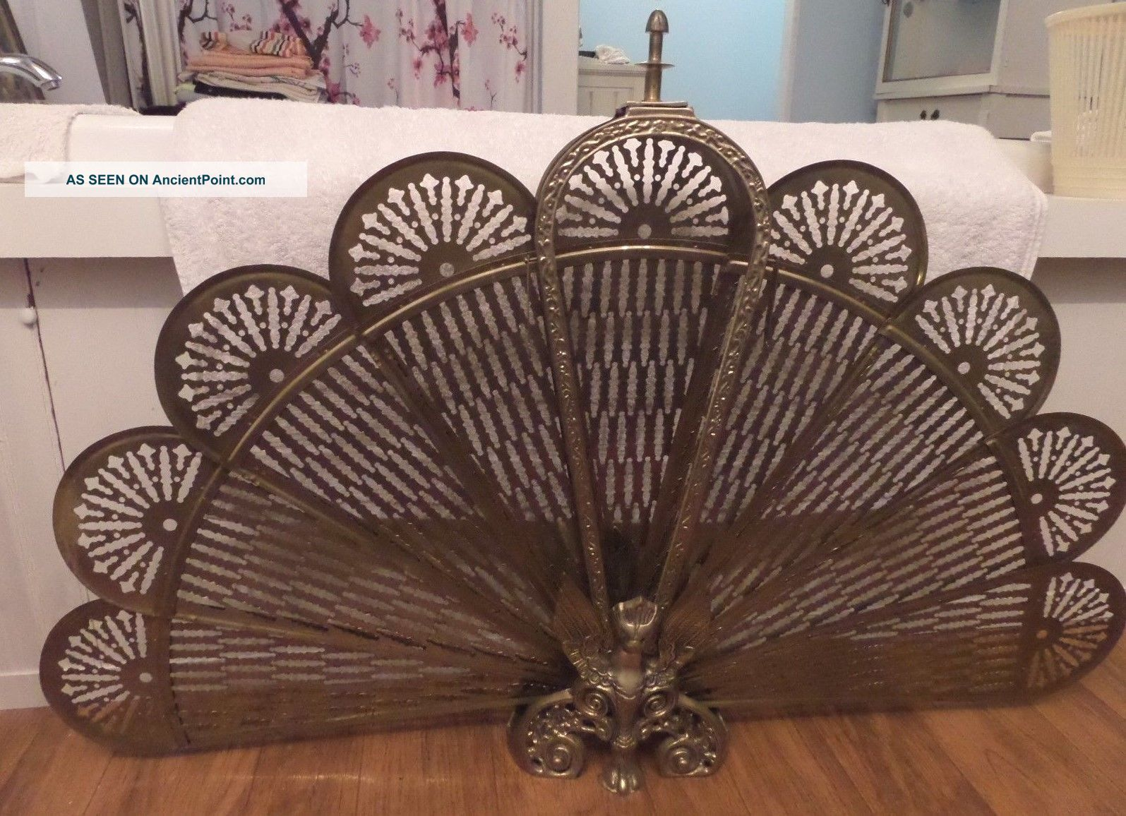 Vintage Brass Fireplace Screen Winged Hollywood Regency Peacock Style Fan Hearth Ware photo