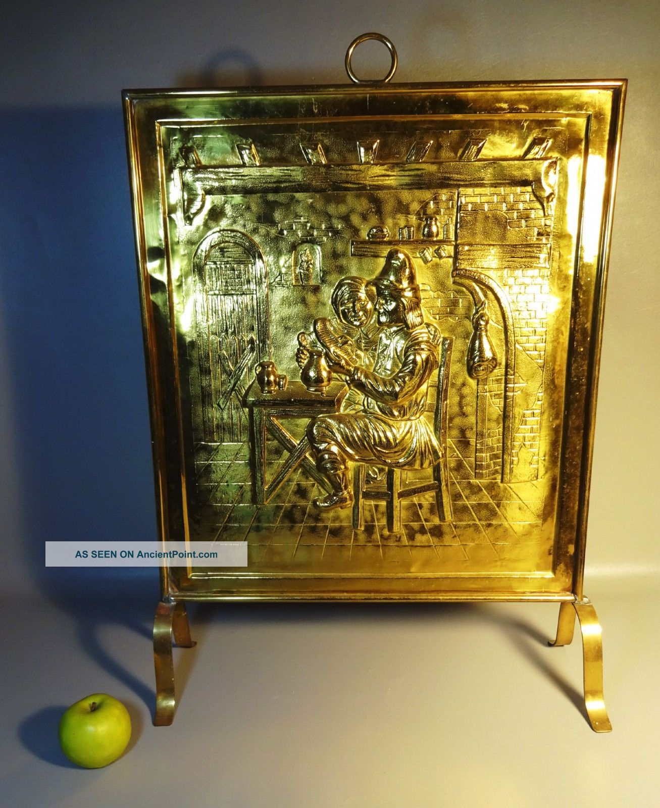 20th Century Brass Fire Place Screen W/relief Pattern Of Medieval Tavern Scene Hearth Ware photo