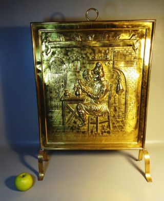 20th Century Brass Fire Place Screen W/relief Pattern Of Medieval Tavern Scene photo