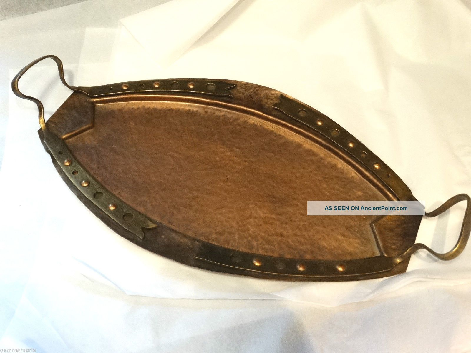 Arts Crafts Mission Copper Antique Hand Hammer Roycroft Stickley Serving Tray